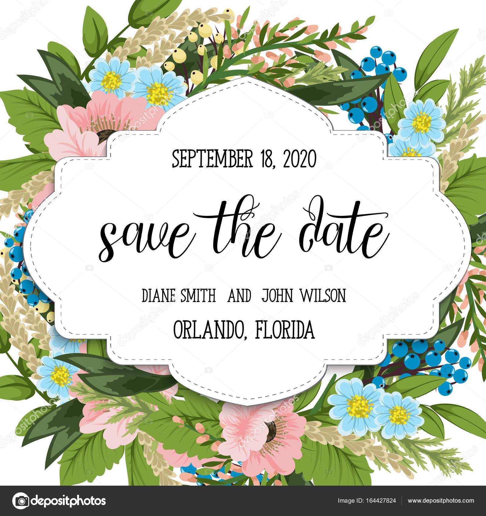 Hochzeit Einladung Karte Suite mit Blumen. Vorlage. Vektor ...