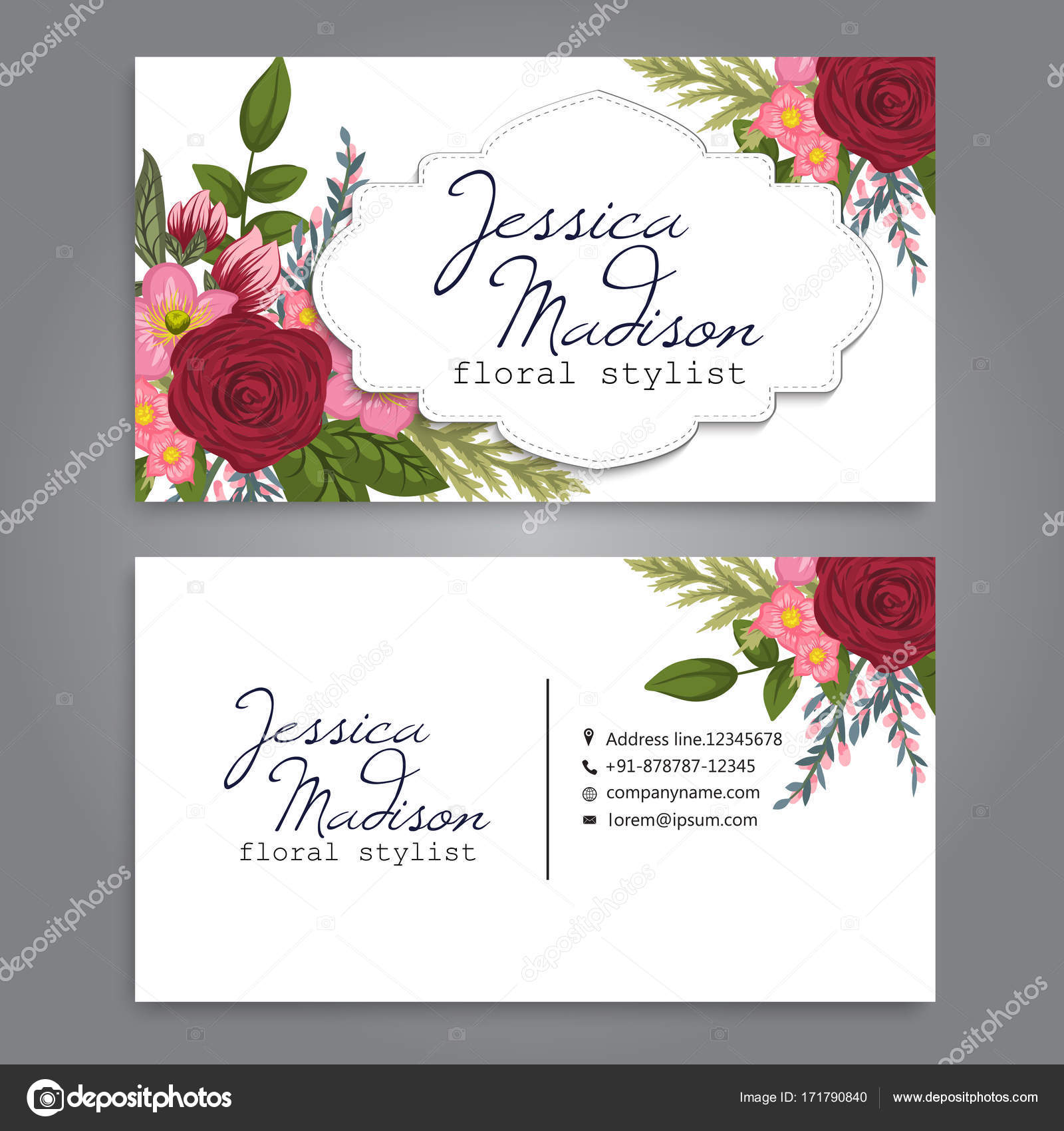 Business card with beautiful flowers.Template — Stock Vector ...