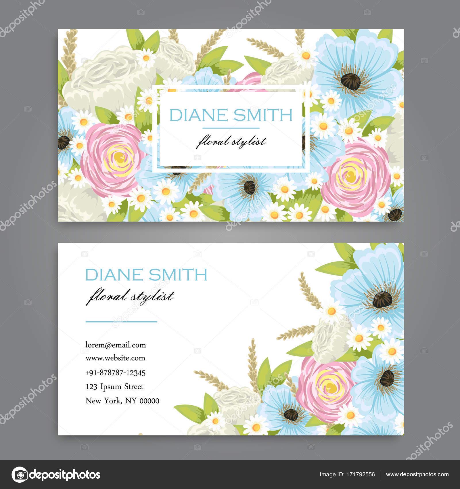 Visitenkarte Mit Schönen Blumen Vorlage Stockvektor