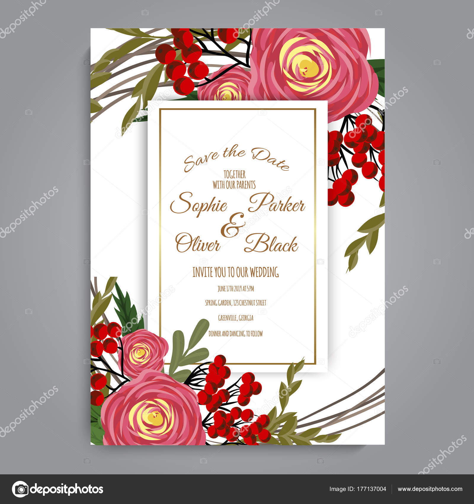 Greeting Card Flowers Watercolor Can Used Invitation Card Wedding