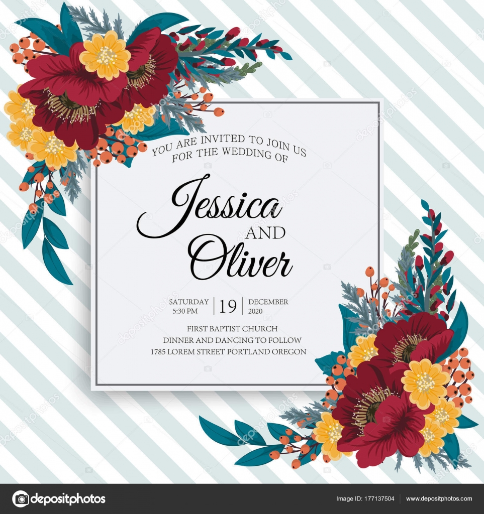 Greeting Card Flowers Watercolor Can Used Invitation Card