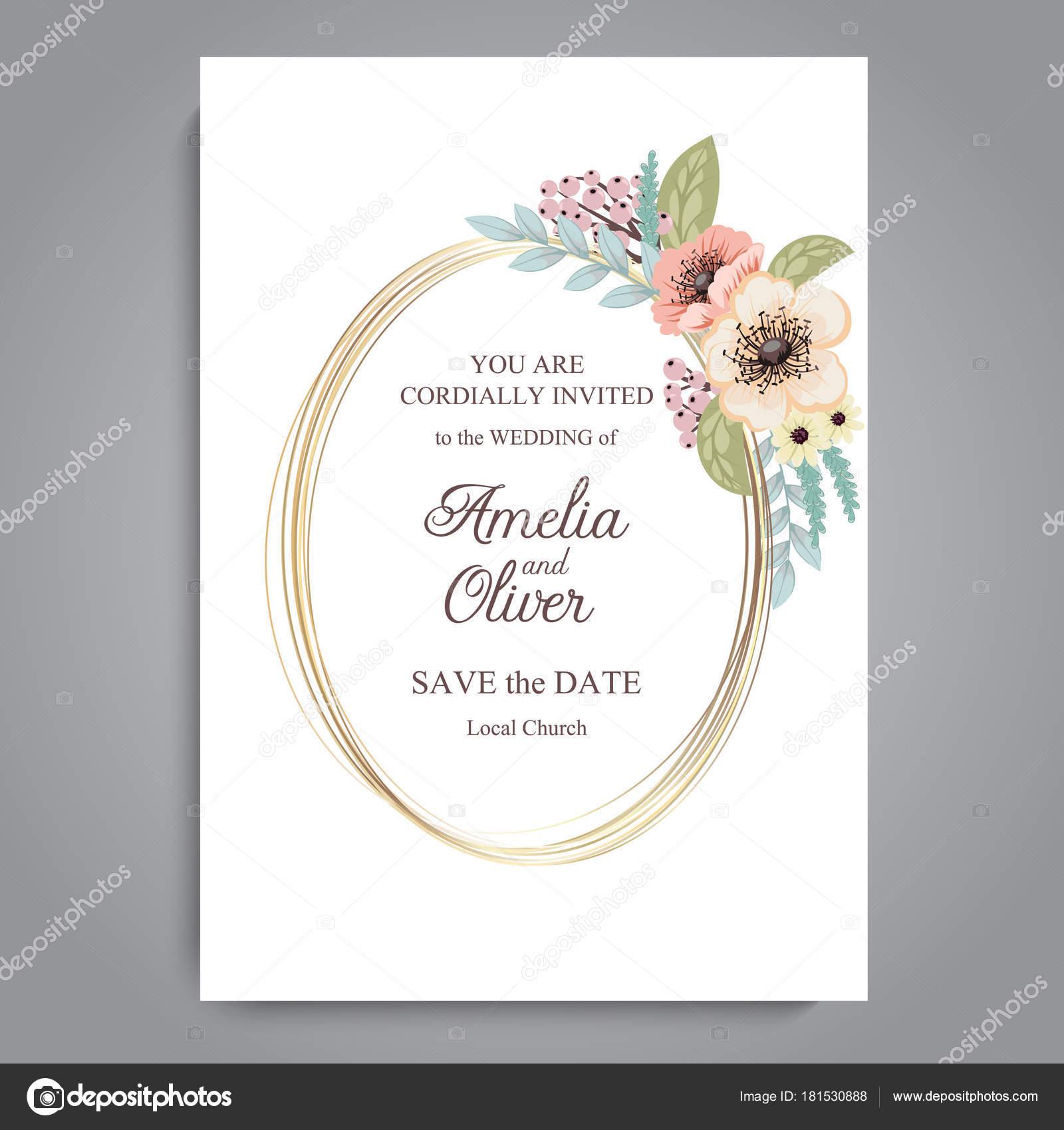 Tarjeta Felicitación Con Flores Acuarelas Puede Utilizarse
