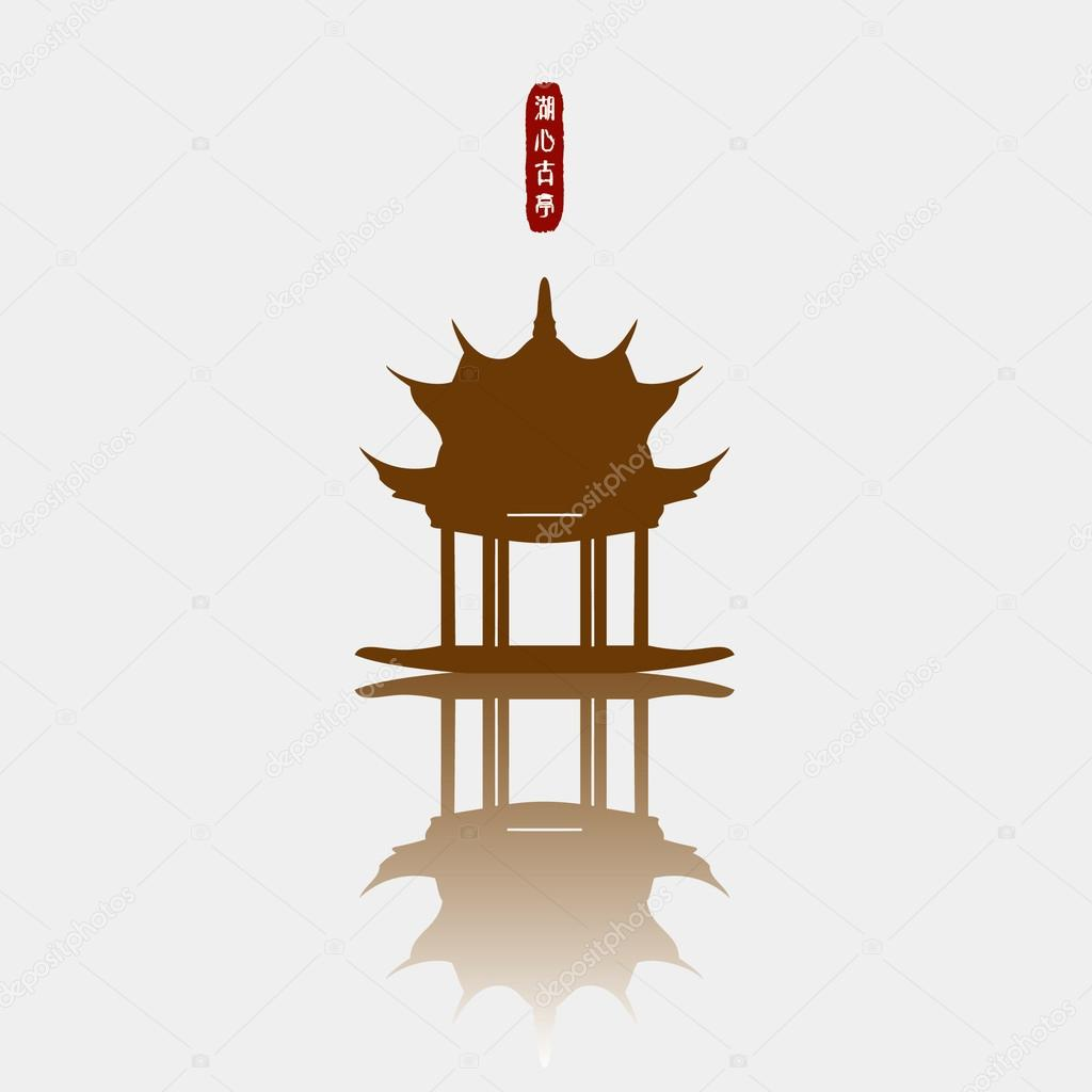 The Symbol Of West Lake Chinese Silhouette Vector Material Stock