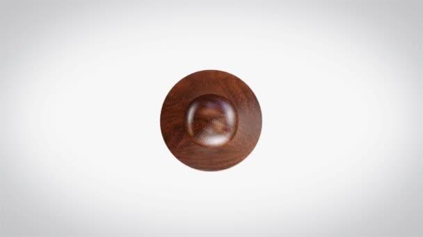 Spokojenost 3D animovaná kulatá dřevěná značka animace