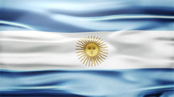 Realistic Seamless Loop Flag of Argentina Waving In The Wind.