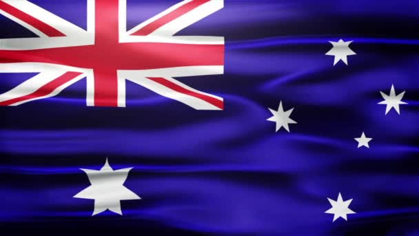 Realistic Seamless Loop Flag of Australian Waving In The Wind With Highly Detailed Fabric Texture.