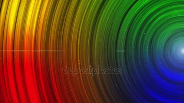 Abstraktní animovaný zářící multi barevné kruhy pruhy a čáry pozadí bezešvé smyčka.