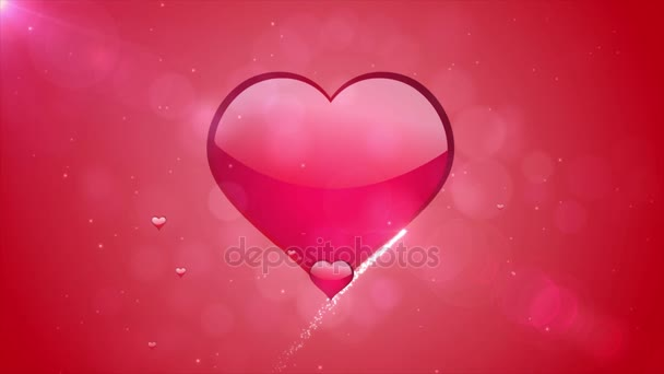 4k Romantic flying red love heart wedding background Seamless loop For St. Valentines Day, wedding anniversary, greeting cards, wedding invitation or birthday e-card.