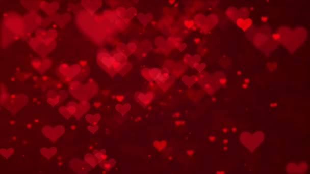 Red Hearts And Glitter Lights Particles Abstract Loopable Background