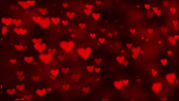Abstraktní se srdce Flying červené srdce stoupat na pozadí temné pohybu.