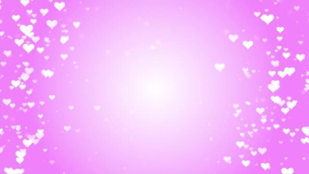 Romantic dreamy white Heart particles on pink background for Valentines Day