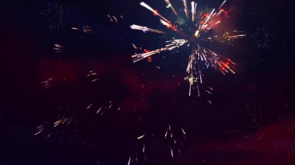Barevné zobrazení animace smyčky ohňostrojů.