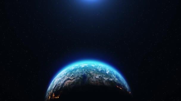 Sonnenaufgang aus dem All Erde aus der Umlaufbahn des Weltraums Nacht zum Tag.