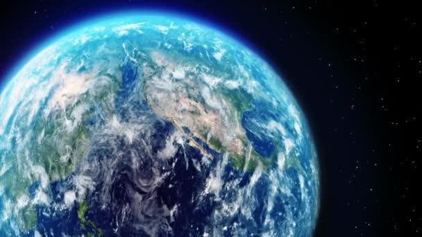 Rotace Země na ose v prostoru s hvězdami Animace smyčky