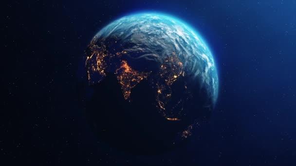 Planet Erde dreht sich langsam von Tag zu Nacht Schleifenanimation
