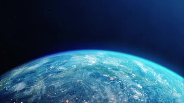 Sun above Planet Earth View From Space Earth orbit 4k Loop Animation.