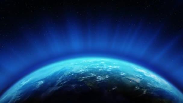 Detailní pohled na Blue Earth prostor v noci a ve dne světla na planetární smyčce Animace.