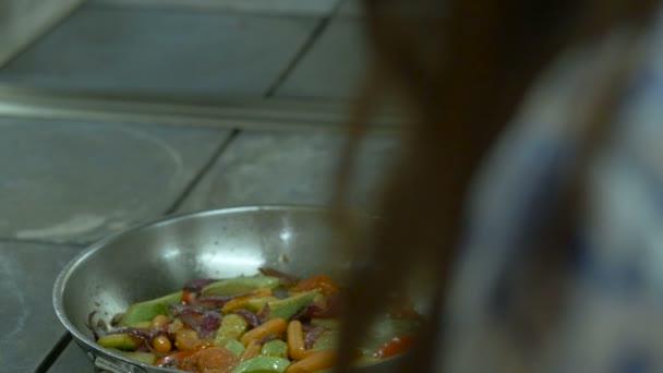 Close up mixed vegetable stir fry dish