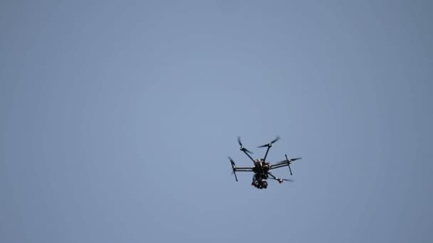 drone hexacopter flying the blue sky