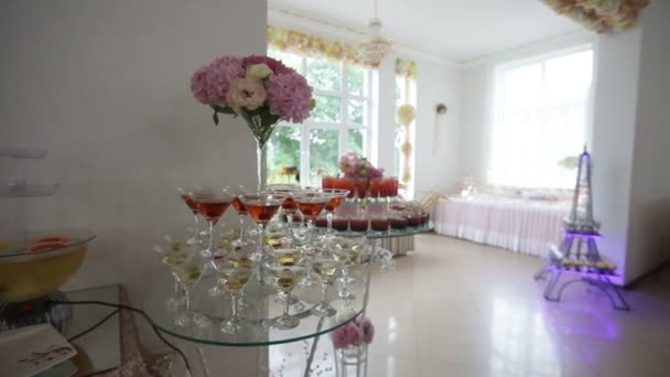 Decorated Sweets And Fruits On Tables For Wedding Reception