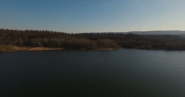Aerial view drone footage of lake