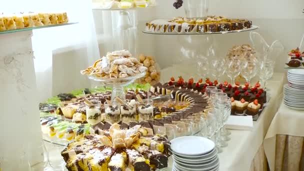 Candy Bar Hochzeit Candy Buffet Kuchen Dekorieren Stockvideo
