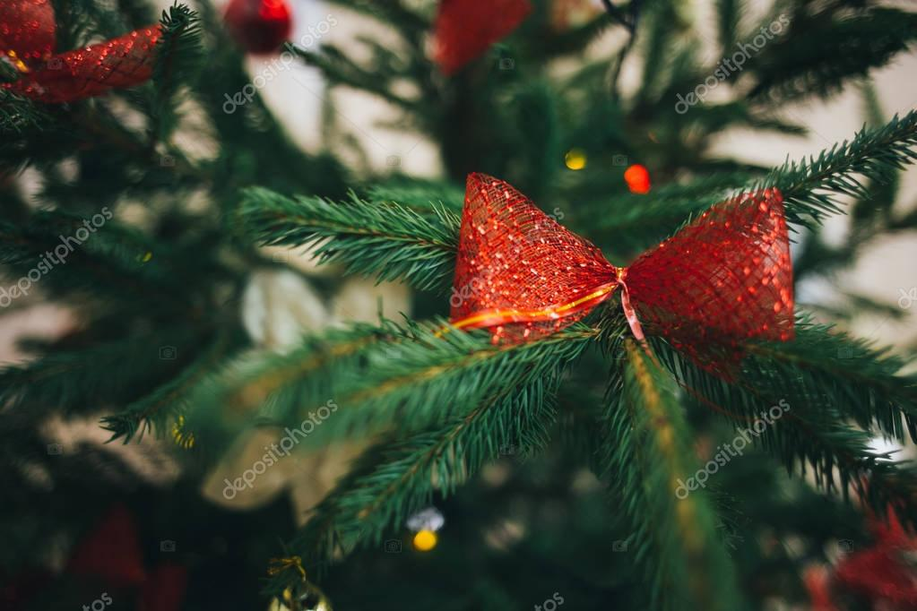 Red bow on the Christmas tree