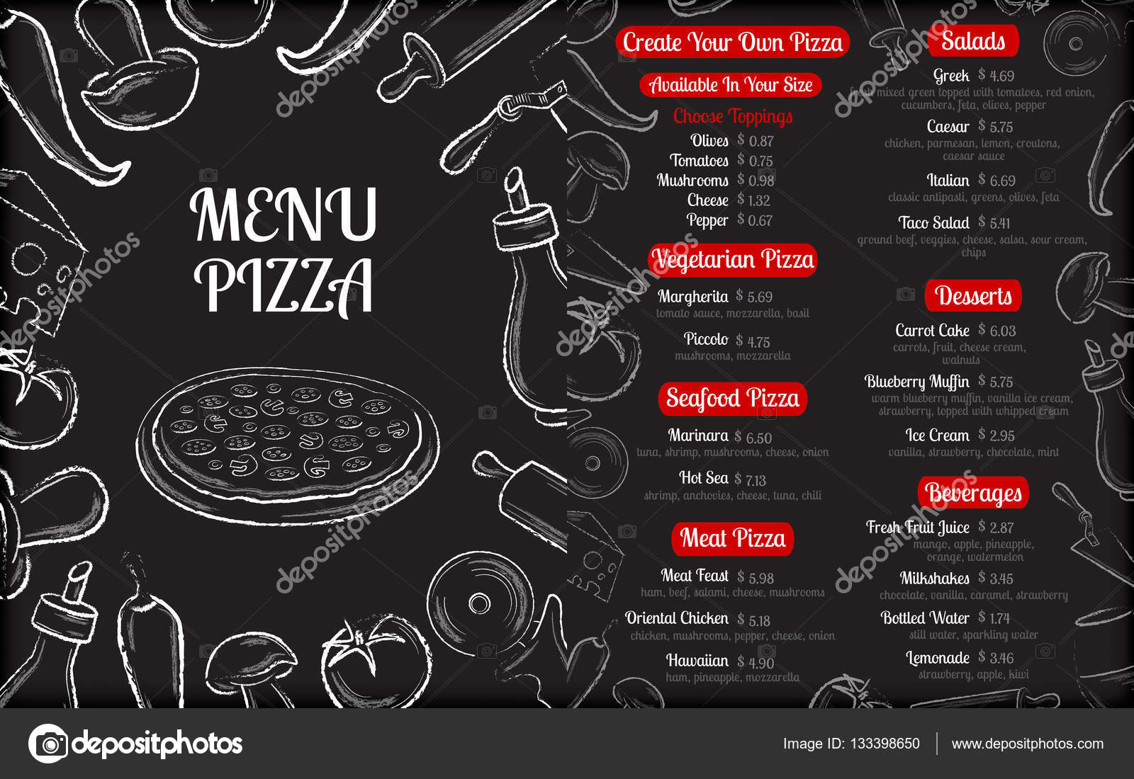 Pizza Cafe Menu Brochure Template With White Hand Drawn Ingredients On Black Chalkboard Background Vector Illustration By BananUlya