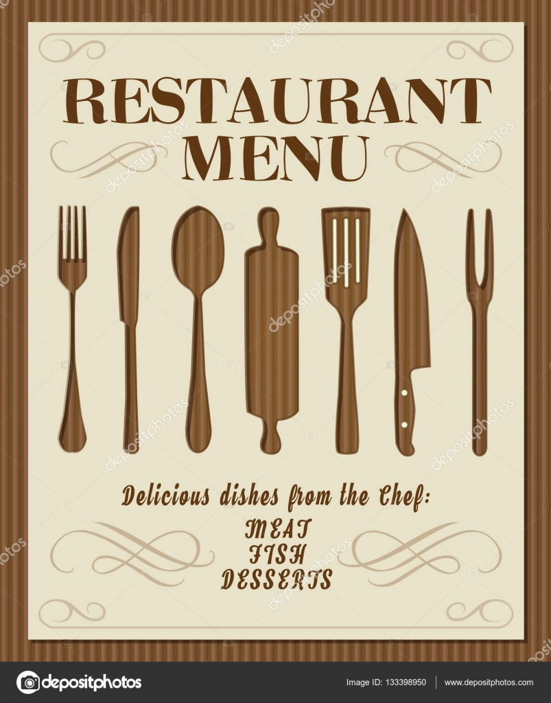 Vintage restaurant menu front page with kitchen tools and orname ...