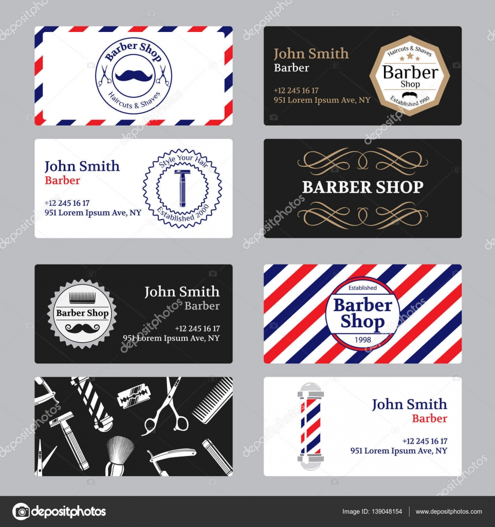 Set of barber shop business card on black and white background set of barber shop business card on black and white background template barber shop business card vector illustration vector by bananulya fbccfo Gallery