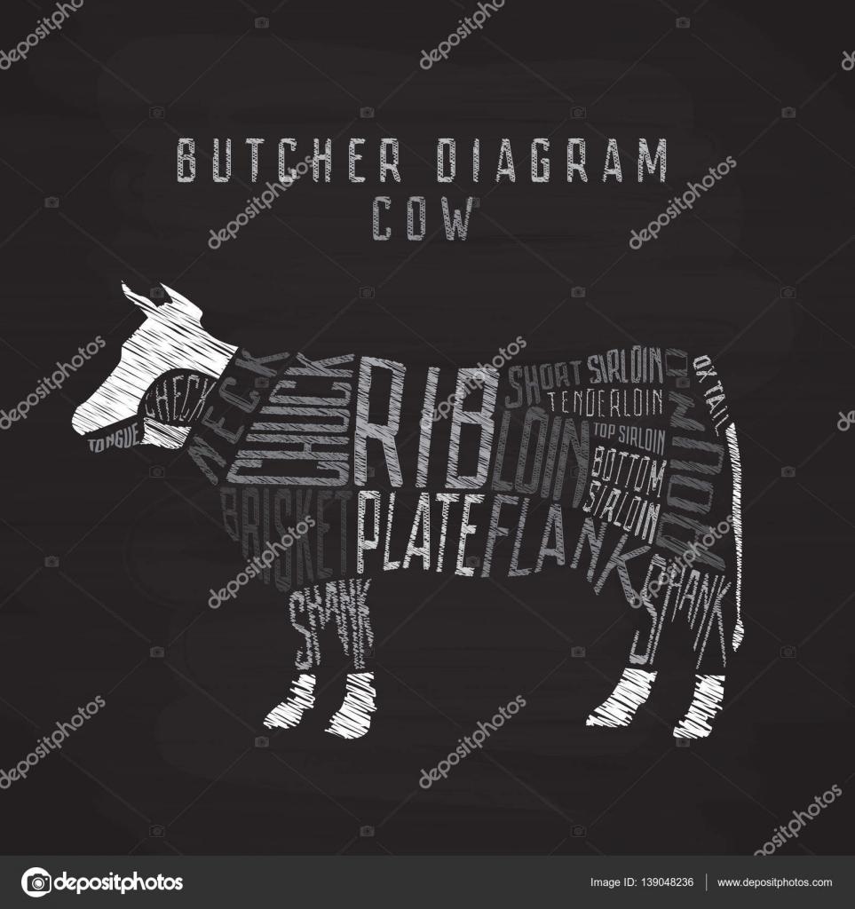 Diagramme de craie vache Boucher. Coupe de boeuf ensemble ...
