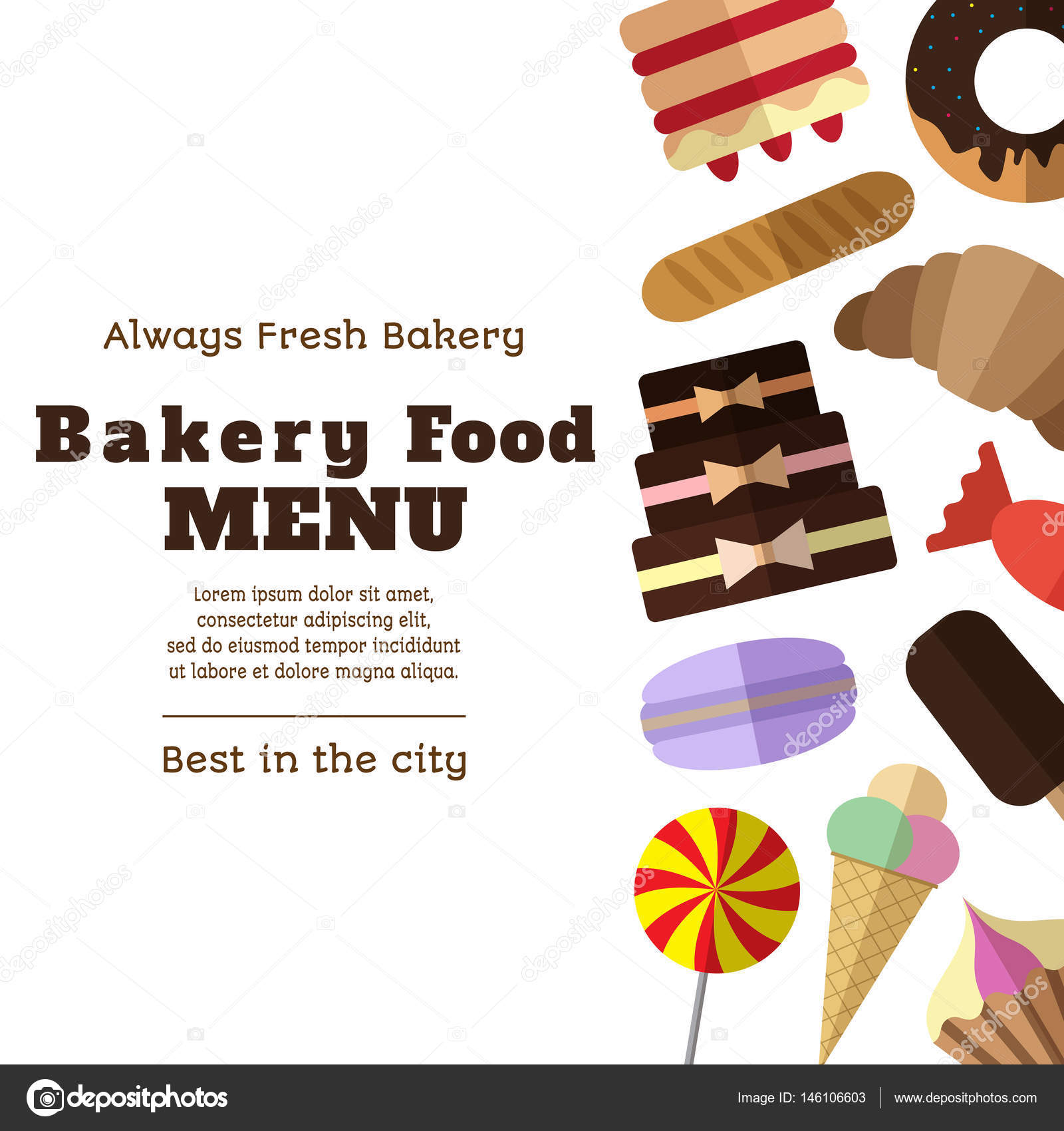 bakery menu template with simple flat icons on white bac stock