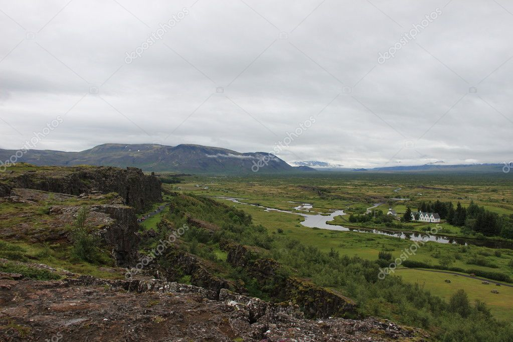 Beautiful rift valley near Thingvellir in Iceland