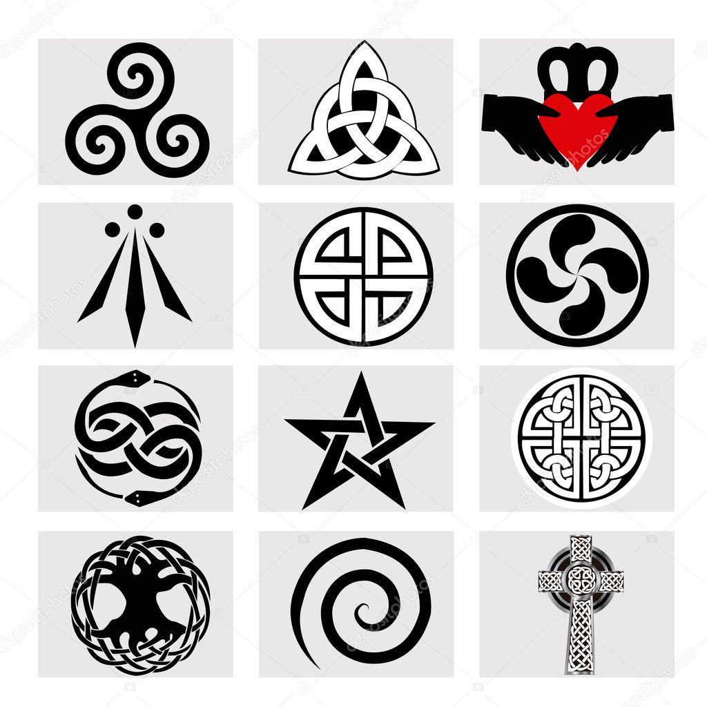 Twelve celtic symbols stock vector hxam92 125355646 twelve celtic symbols stock vector biocorpaavc