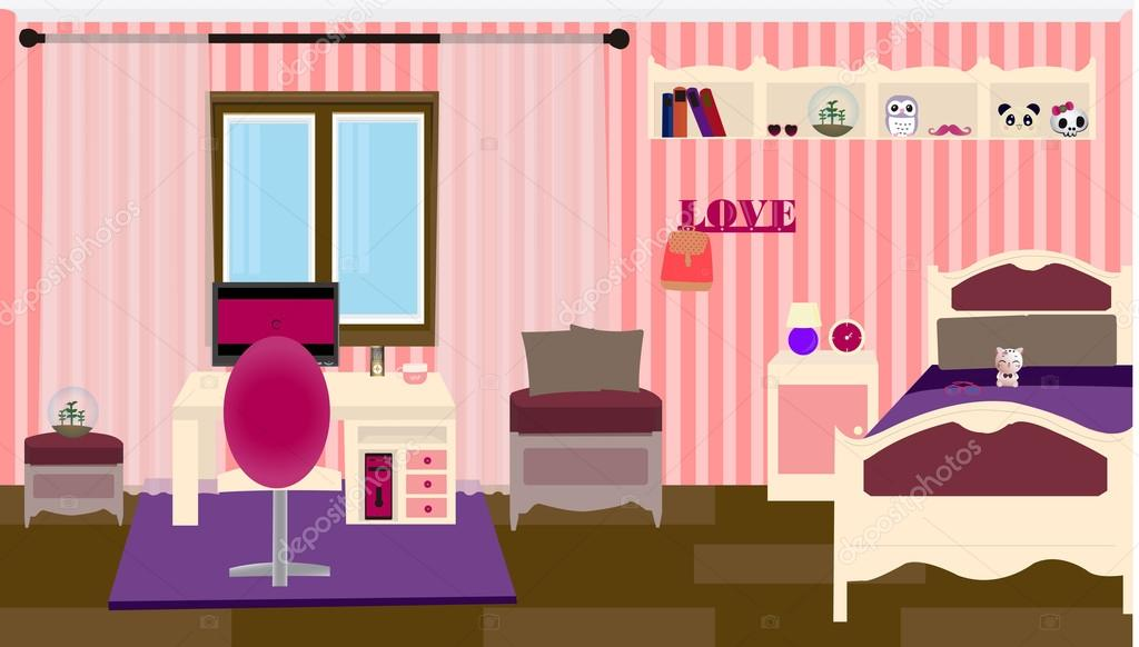 Pictures Girly Bedroom Ideas A Girly Bedroom Stock Vector C Hxam92 128110856