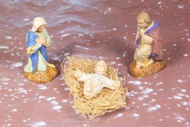 Nativity scene with provencal Christmas crib figures