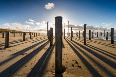 Poles on the beach of Petten Netherlands during sunset and strong wind, a piece of art in the sand