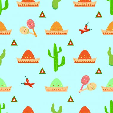 Seamless pattern hat cactus chili pepper vector