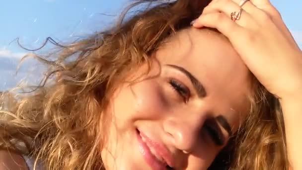 beautiful girl portrait smiling sea sun