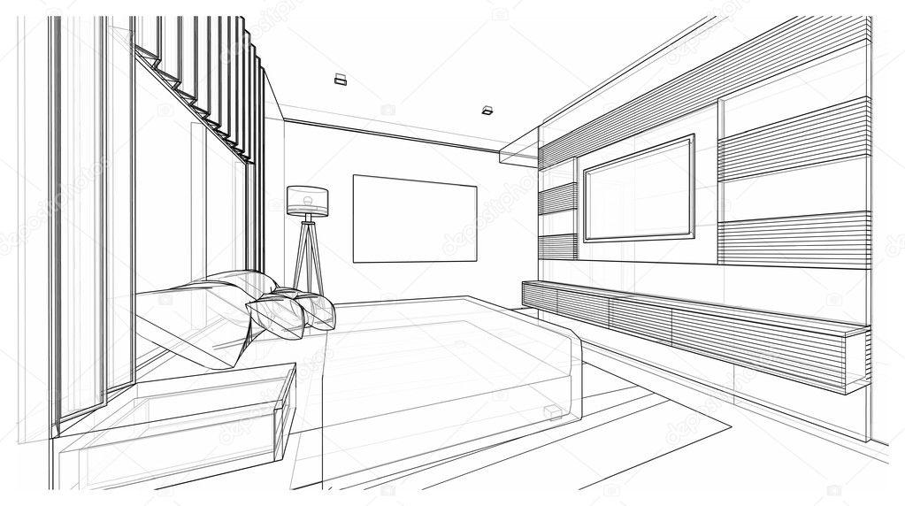 Design Du0027intérieur De Chambre à Coucher De Style Moderne, Esquisse De Trame  De Fil 3d, Perspective U2014 Image De ...