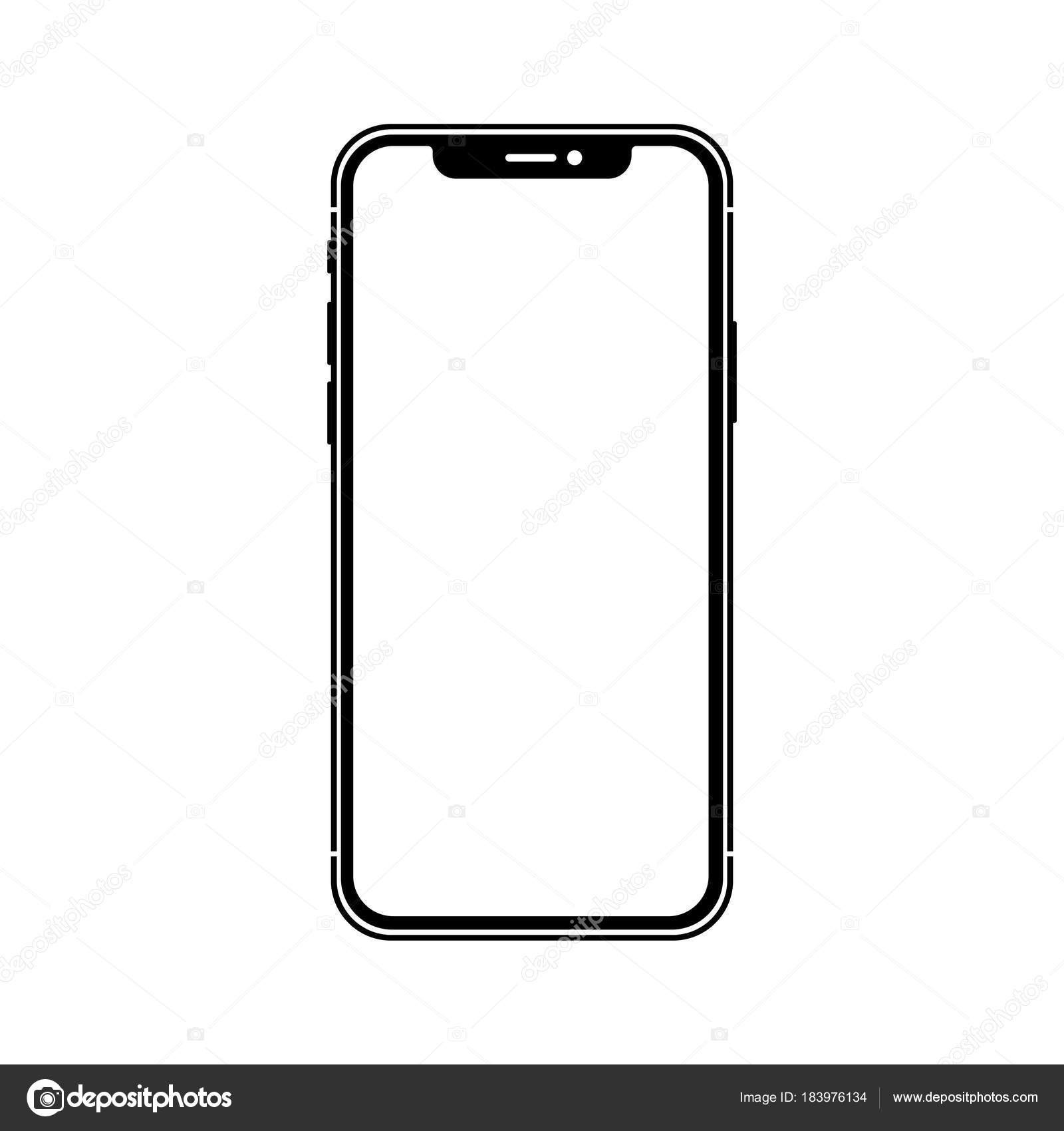 Teléfono inteligente sin marco negro — Archivo Imágenes Vectoriales ...