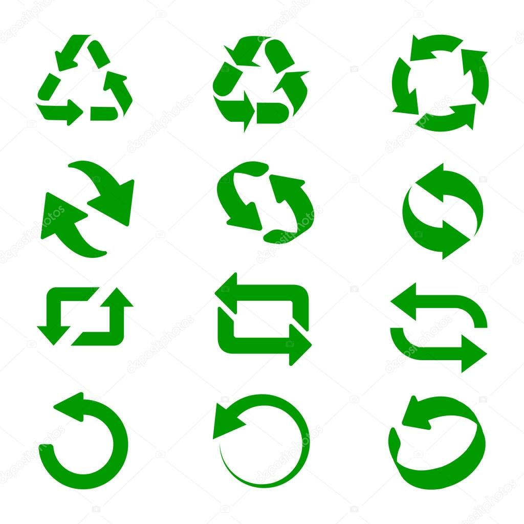 Green recycle signs