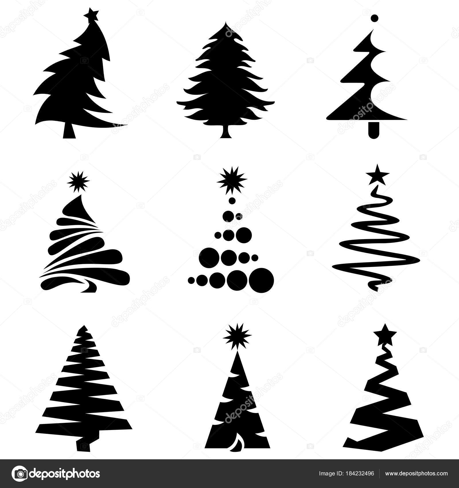 Black Christmas Tree Icons Stock Vector C Evgeniyzimin 184232496