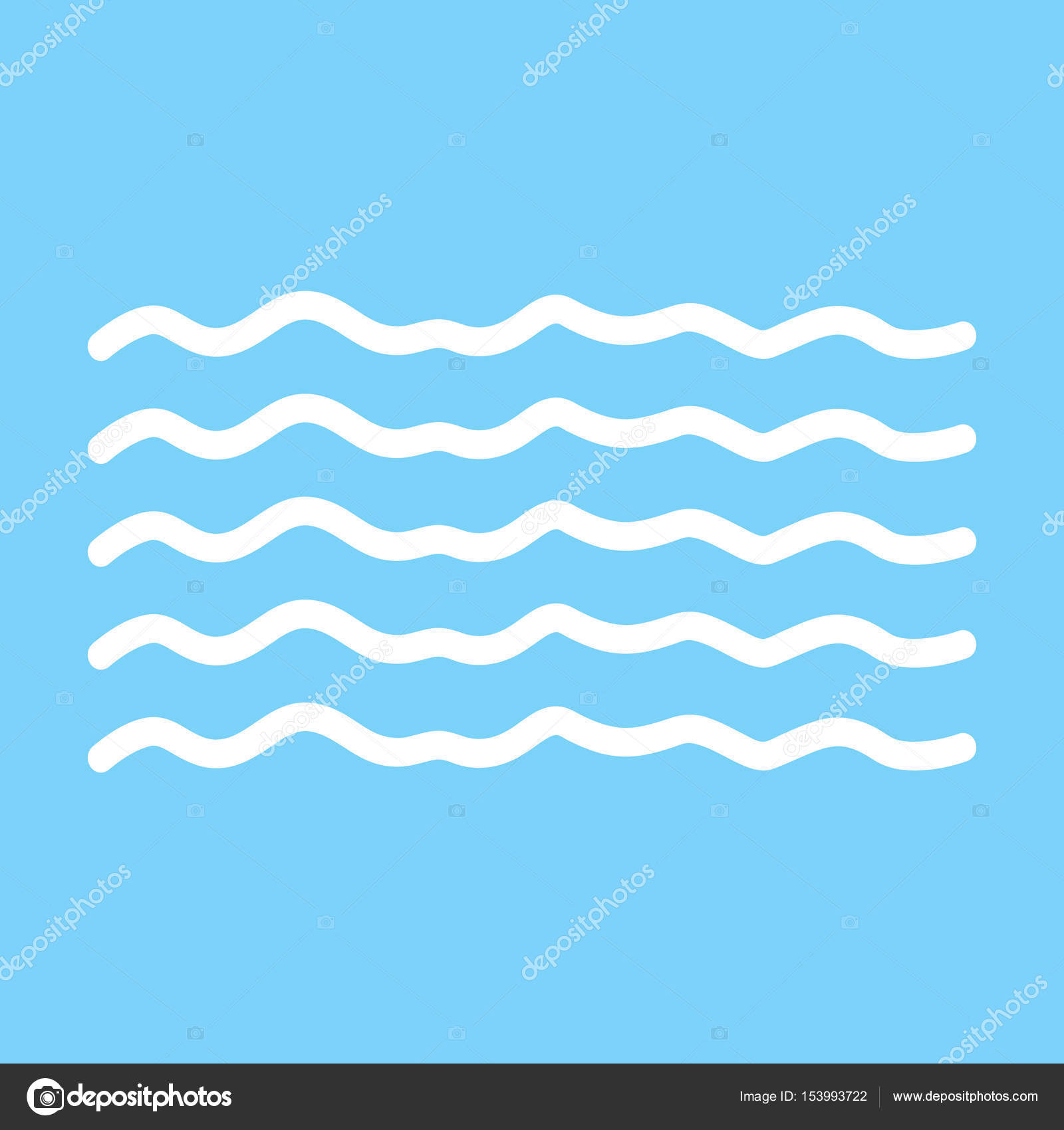 Modern Minimal Flat Design Style Wave Thin Line Symbol Waves O