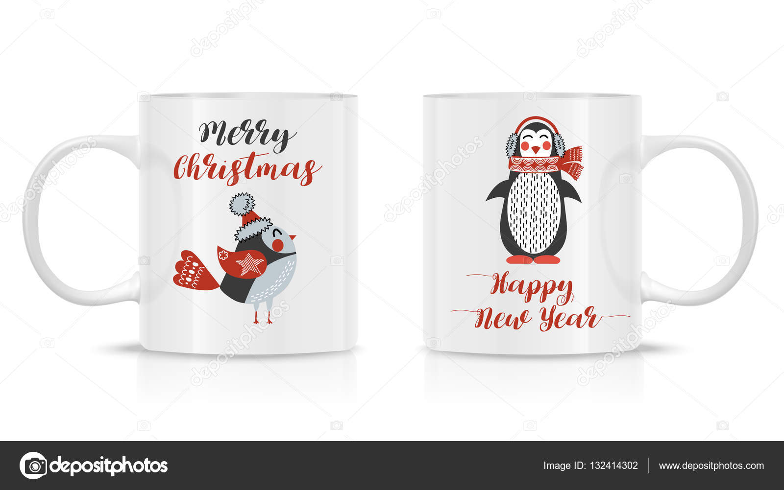 Design Template for Mock Up. Vector. Two mug mock-up. — Stock Vector ...