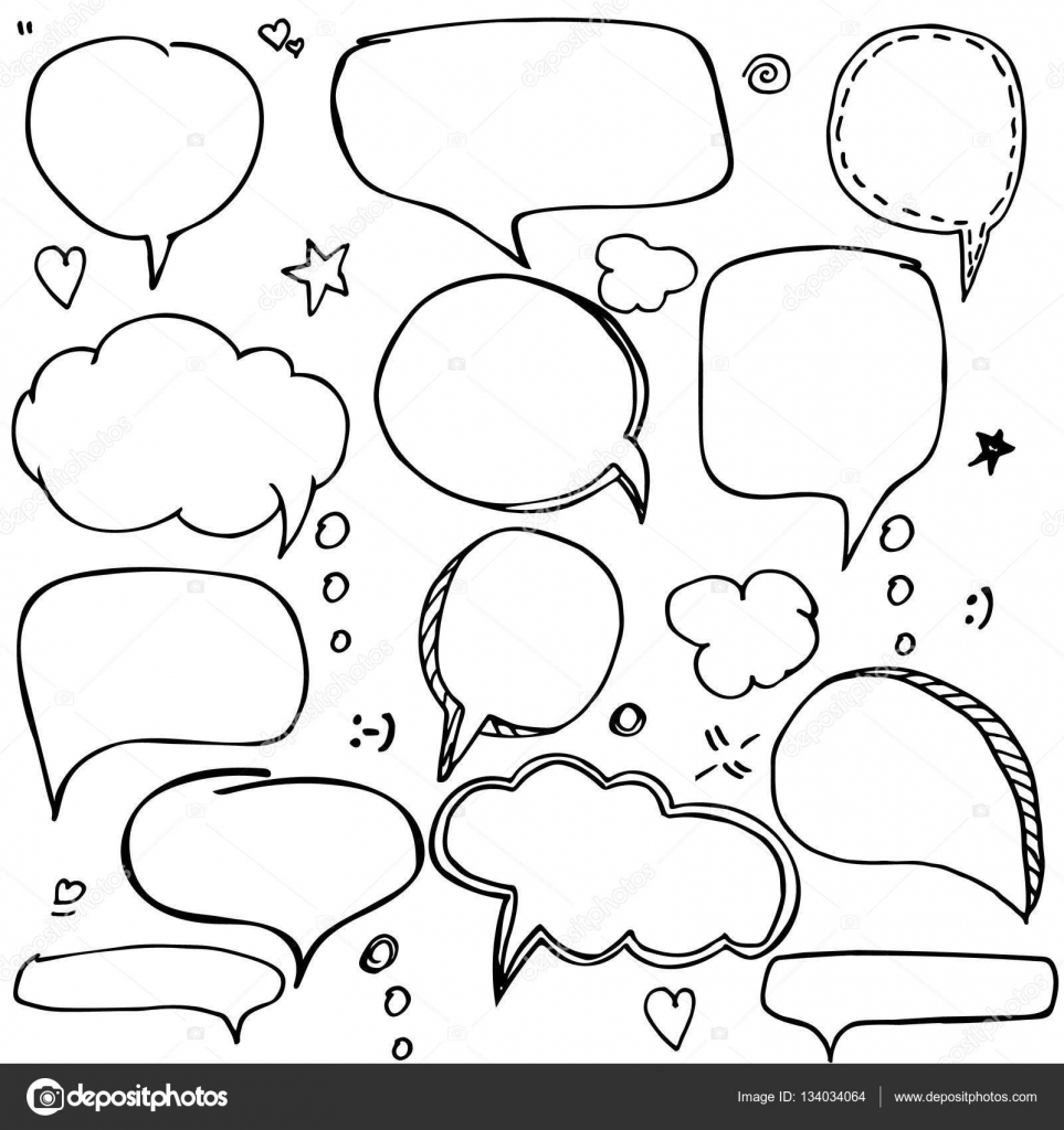 Set of hand drawn think and talk speech bubbles with love message set of hand drawn think and talk speech bubbles with love message greetings and sale m4hsunfo