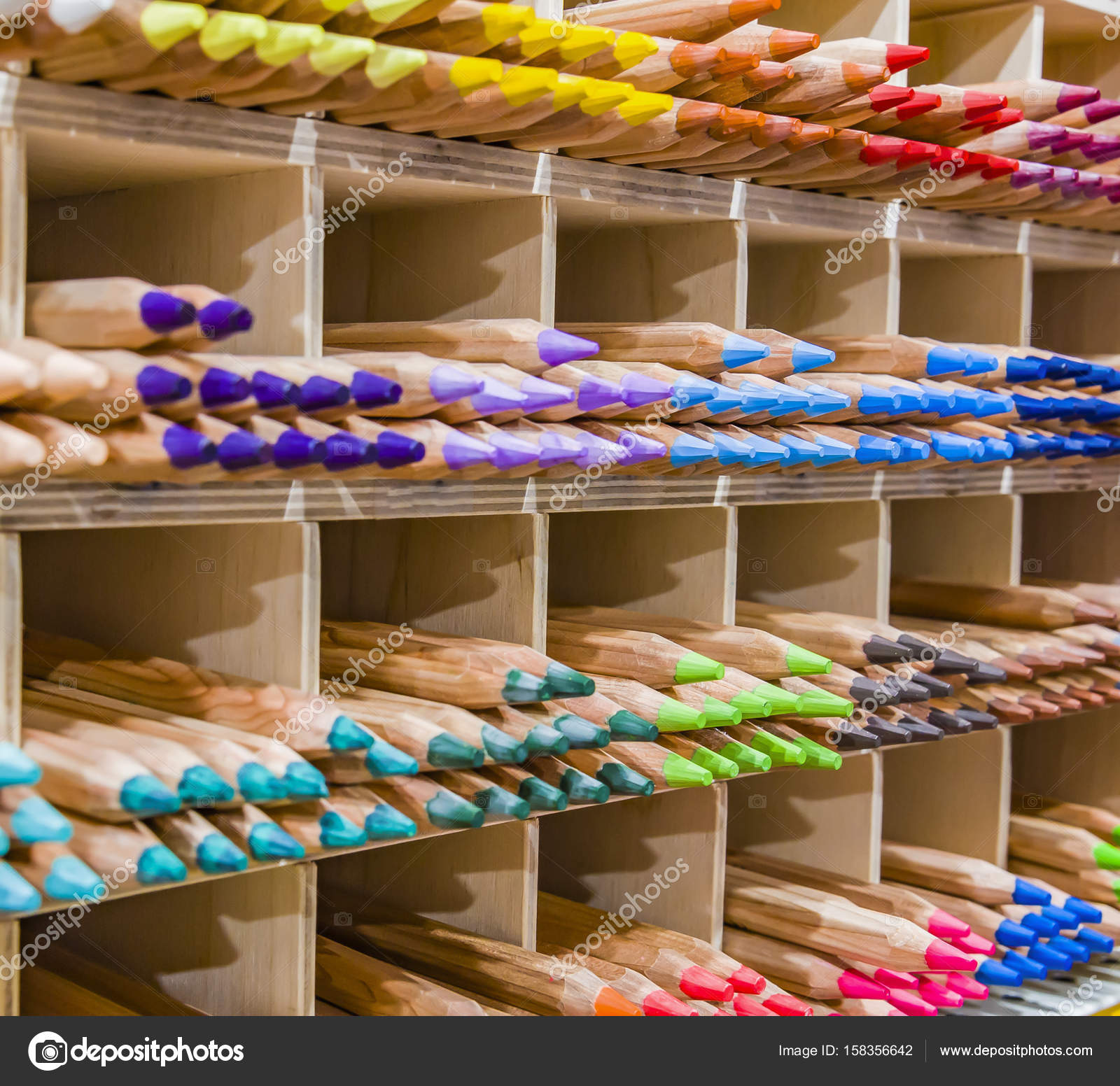 Colored Pencil Tips Colorful Spectrum Shelf Background Stacks Groups ...