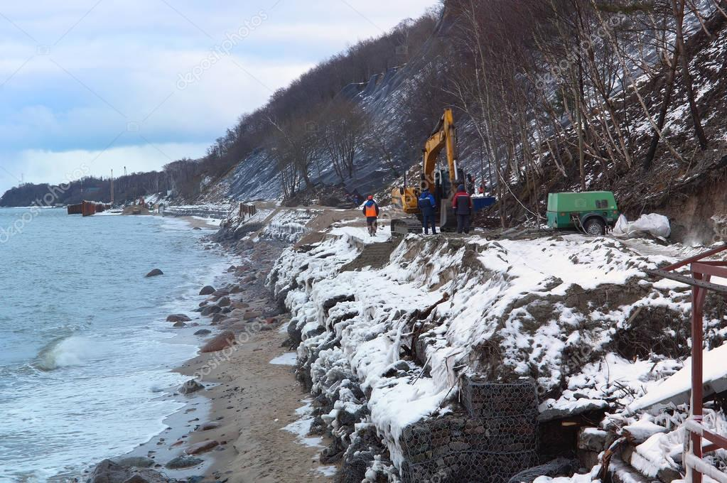 construction of shore protection structures, construction of the sea promenade, construction equipment on the beach