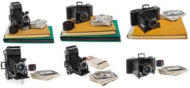 Set of photos, antique, black, pocket camera, old  photo albums, retro black and white photographs, historic negative for the camera.