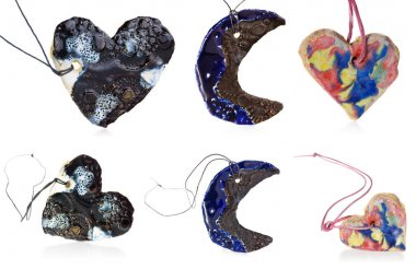 Heart and Moon necklace, handmade, ceramic, jewelry in a mix of colors blue, white, brown, yellow, red, green.